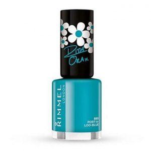 Rimmel London, 60 Seconds Super Shine Nail Polish – PORT-A-LOO- BLUE, a bright teal blue.