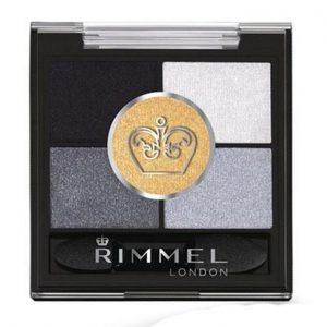 Rimmel London, Glameyes HD 5 Pan Eye Shadow, 021 Golden Eye, a mixture of silvers, blacks, and a golden shade