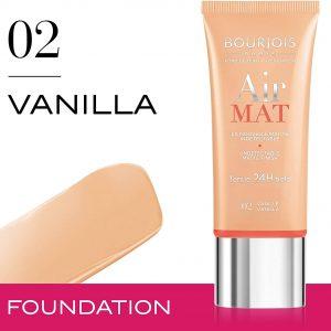 Bourjois, Air Mat 24H. Foundation. 02 Vanilla. 30 ml – 1.0 fl oz